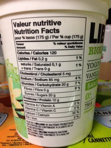 Vanilla yogurt with organic sugar added