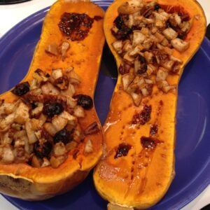 Stuffed butternut squash with pear, pecans and cranberries, finished product