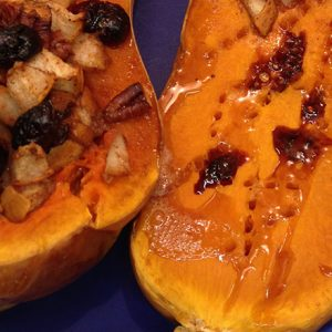Stuffed Butternut Squash with Pears, Pecans and Cranberries
