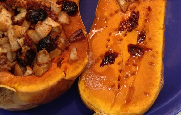 Stuffed Butternut Squash with Pear, Pecans and Cranberries