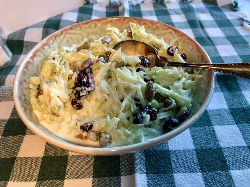 Broccoli Slaw with Cranberries and Pistachios