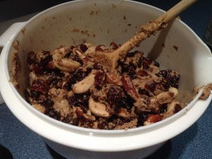 Add rum soaked nuts and dry fruit