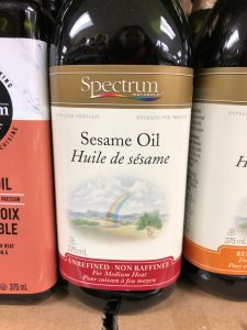 Bottle of unrefined Sesame oil