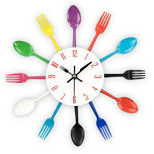 wall clock with fork, spoon and knife
