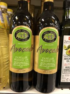 Bottle of avocado oil that states