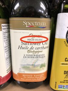 bottle of high oleic safflower oil