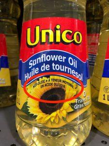 Bottle of sunflower oil labelled