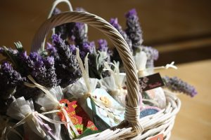 fresh lavender bouquets with a card in a basket