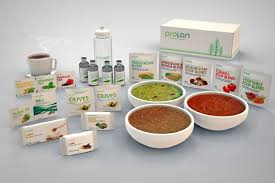 boxes labelled proton along with 3 bowls of soup and smaller packets of food